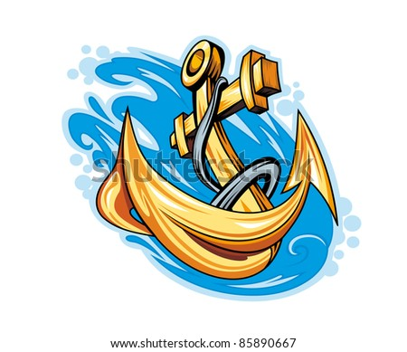 Anchor in sea water for tattoo design. Vector version also available in gallery