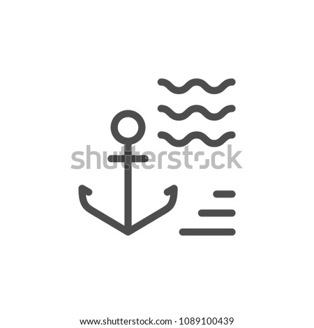 Anchor line icon isolated on white