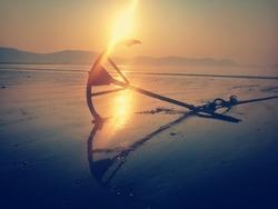 Anchor on the beach at Dawei peninsula, Myanmar