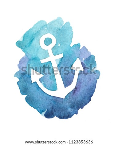 Anchor watercolor on the white background