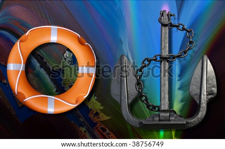 Anchor with lifebuoy over abstract marine blue background