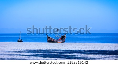 Anchor  world's longest sea beach Cox's bazars only island S.T martins. A boat was there and preparing for their fishing