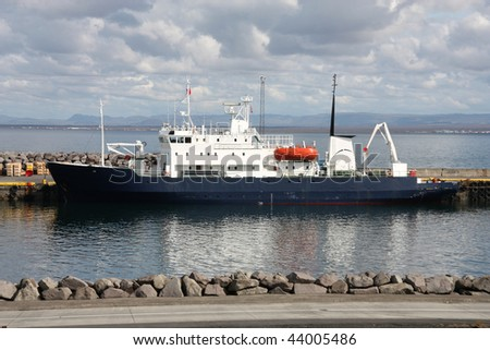 Anchored arctic research ship. Keflavik harbor in Iceland.