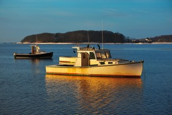 anchored Lobster boat at sunrise
