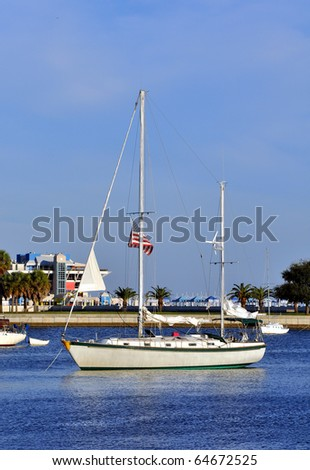 Anchored sailboat in the St. Pete Bay, Florida