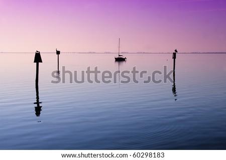 Anchored Sailboat on Tampa Bay, Florida