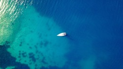 Anchored yacht aerial view