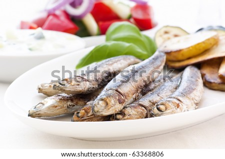 Anchovies with Chips and Farmer Salad