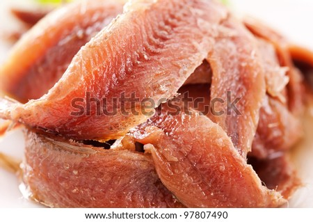 Anchovy pickled as close up - stock photo