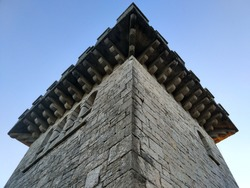 Ancient Ahun tower against blue sky. Sochi.