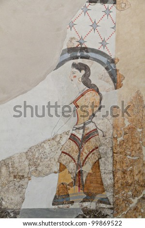 Ancient Akrotiri settlement at Santorini island in Greece. Detail of a house  wall fresco.