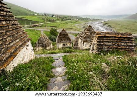 Ancient Alanian necropolis (City of dead)  in Dargavs village, North Ossetia Alania, Russia Stock photo ©