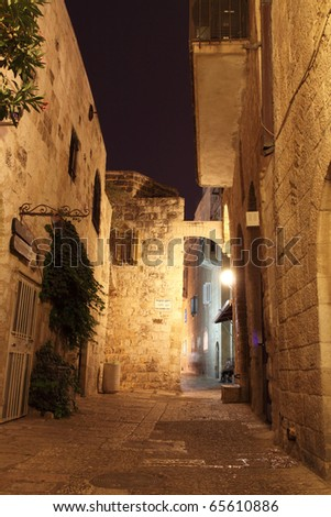 Ancient Alley in Jewish Quarter in the Old City at Night, Jerusalem