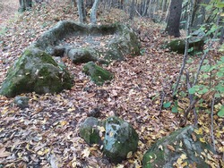 ancient altar for sacrifices, rock altar, rock basin, rock carvings. immersed in the woods near rimini near san leo. They also call it a New Year's Eve bed that cures back pain.