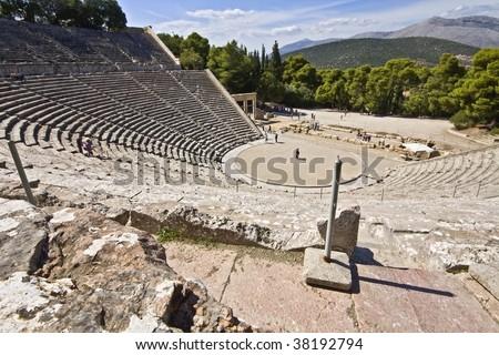 Ancient amphitheater of Epidaurus at Peloponnese, Greece
