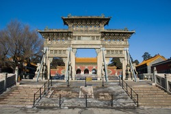 Ancient and beautiful stone dolmen in Zhaoling Tomb (Luminous Tomb or Beiling or Northern Tomb), Shenyang China. Zhaoling Tomb is the mausoleum of the second Qing emperor, Huang Taji and his empress.