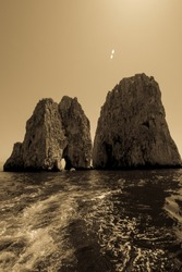Ancient and old style picture of the Capri' Faraglioni, one of the best place in ITaly.