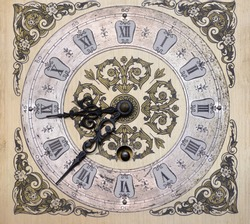 Ancient and vintage clock. Close up