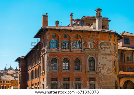 ancient apartment house with...