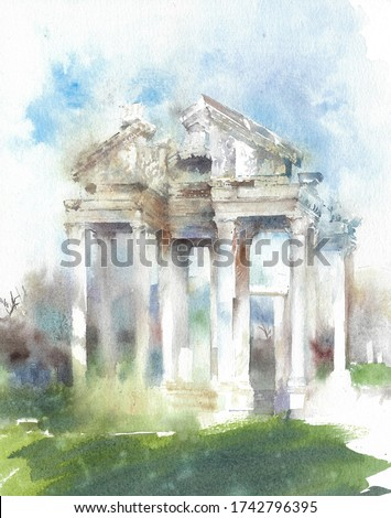 Ancient Apollo temple Greek architecture landmark watercolor painting illustration isolated on white background