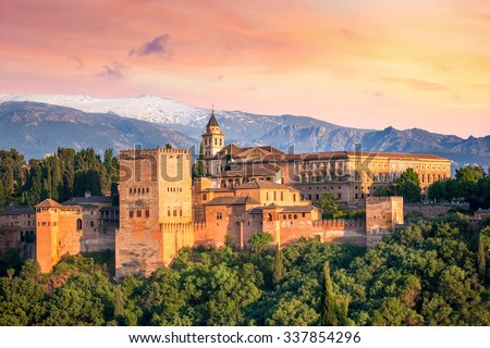 Shutterstock Ancient arabic fortress Alhambra at the beautiful evening time, Granada, Spain, European travel landmark
