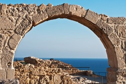 ancient arch at Kourion, Cyprus. Beautiful view at sea.