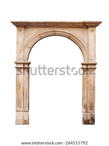 Ancient arch isolated on white background.
