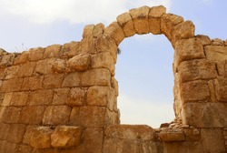 Ancient arch of amphitheater in Israel.