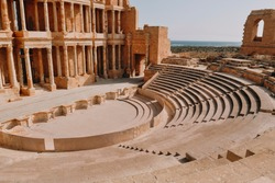 Ancient archaeological site. Ruins of the city of Sabratha, ancient