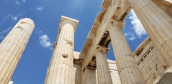 Ancient architecture at Acropolis in Greece and blue sky