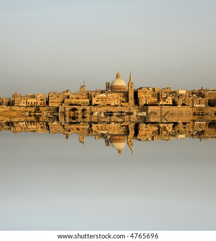 ancient architecture of malta island with reflection
