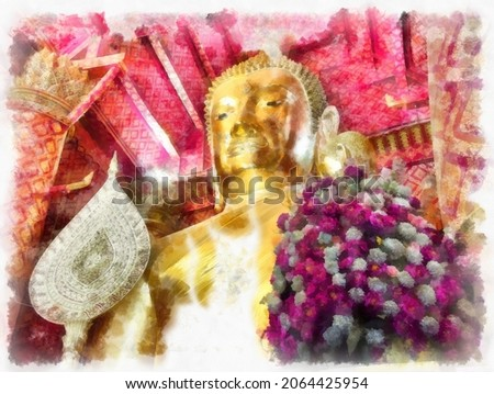 Ancient architecture of Thailand watercolor style illustration impressionist painting.