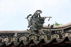 Ancient architecture sculpture on the roof in Yu Garden,Shanghai,China