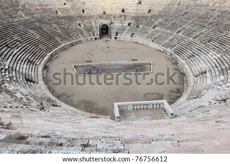 ancient arena of Verona, second largest Roman amphitheatre after Colosseum in Italy