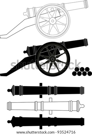 Ancient artillery gun XVIII - XIX-th century - isolated illustration, white background. Set. Kernels.