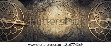 Ancient astronomical instruments on vintage paper background. Abstract old conceptual background on history, mysticism, astrology, science, etc. Retro style. #1216774369