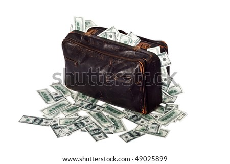 Ancient battered suitcase full of banknotes. currency, currency converter, currency exchange, exchange rate, foreign exchange, forex, forex rates, money exchange.