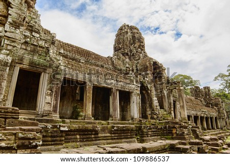 Ancient Bayon Temple located in Angkor, Siem Reap, Cambodia.