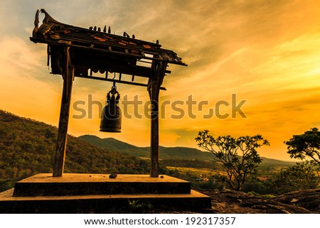 Ancient bell at sunset in Phrabuddhachay Temple Saraburi Thailand