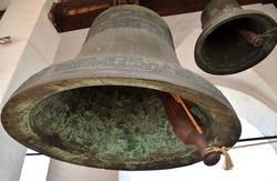 Ancient bell on bell tower in Rostov Kremlin, Rostov, Yaroslavl region, Russia