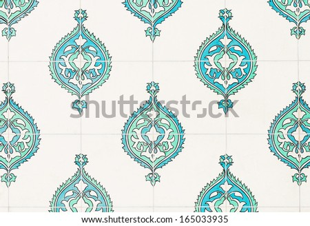 Ancient blue and cyan ceramic tiles in good condition from the Topkapi palace in Istanbul, Ottoman era