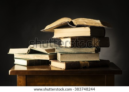 Ancient books on the table