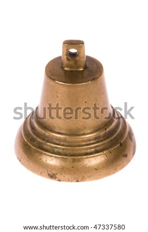 Ancient brass bell isolated on white background
