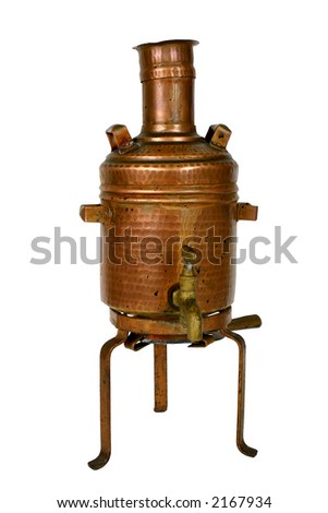 Ancient brass water boiler with clipping path