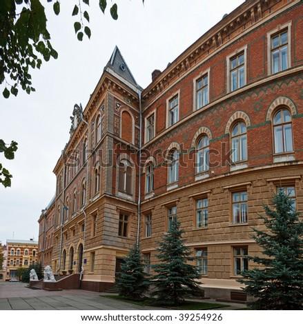 Ancient brick building of Chernivtsi regional state administration. Ukraine