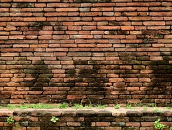 Ancient brick wall in the archaeological site