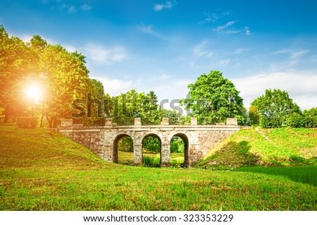 Ancient bridge in summer park