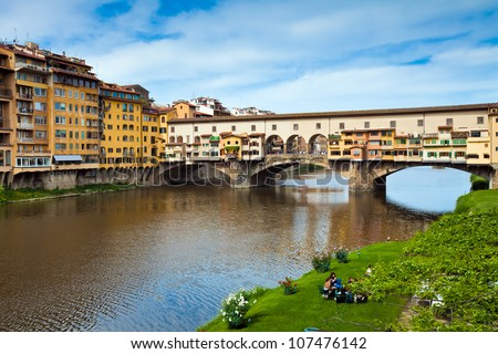 Ancient bridge Ponte Vecchio in Florence. Italy. Famous Italian attraction in Firenze city