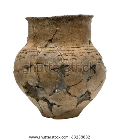 Ancient broken pot isolated over white