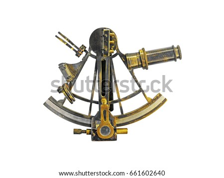Ancient bronze navigation Sextant Astrolabe, isolate on white background #661602640